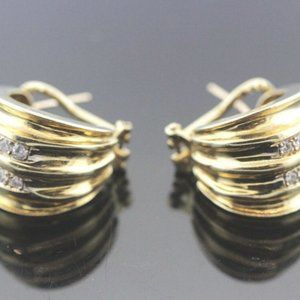 14k Yellow Gold & Diamond Women's Earrings